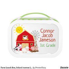 Shop Farm Lunch Box, School custom Lunchbox created by PrinterFairy. Farm Birthday, Farm Party, Party In A Box, Back To School, Lunch Box, Cute, Kawaii, Bento Box, Entering School