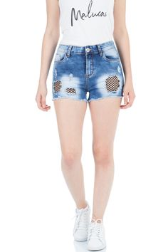 27744da6a95d87 MIT NETZ UND FRANSEN Lässig und cool präsentieren sich diese Malucas High  Waist Shorts mit schwarzem
