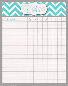 ... | Chore Charts, Chore Chart Template and Printable Chore Chart