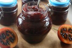 Annabelle White's recipe for tamarillo chutney. Chutney Recipes, Marmalade, Chocolate Fondue, Preserves, Brown Sugar, Pickles, Pudding, Homemade, Baking