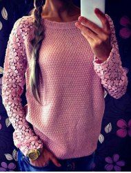 Cute Round Neck Long Sleeve Spliced Hollow Out Women's Sweater