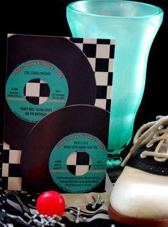 Fabulous '50s 45 rpm Sock Hop Birthday Party Custom Personalized Printable DIY Invitation. $15.00, via Etsy.