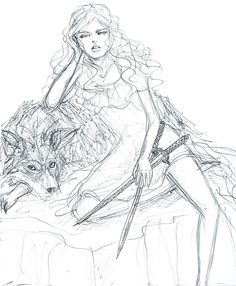 Wendy and her wolf by bombxbomb on tumblr Wendy Peter Pan, Peter Pan Ouat, Peter Pan Disney, Peter Pans, Tumblr Drawings, Pencil Art Drawings, Cool Drawings, Art Sketches, Pug
