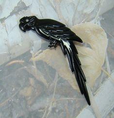 Vintage Parrot Bird Brooch Rare Signed Pierre Cadeau Deep Purple Rhinestone Eye Big Parrot Beauty