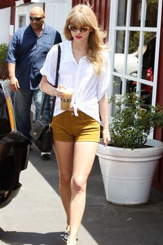 """Taylor Swift stepped out for a coffee in LA wearing a pair of cool cat eye """"Benedict"""" sunglasses. Brand: Elizabeth and James"""