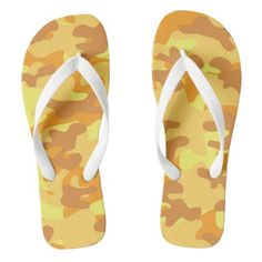 f2138f63941d Autumn Colors Orange and Yellow Camouflage Print Flip Flops - pattern  sample design template diy cyo