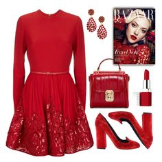 """Red!"" by nayla-darkstone ❤ liked on Polyvore featuring Elie Saab, Dolce&Gabbana, Oscar de la Renta and Clinique"