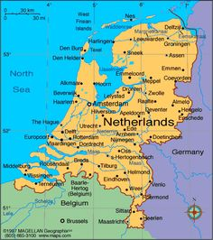 Travel Maps of Amsterdam and Netherlands - Holland Holland Netherlands, Amsterdam Netherlands, Travel Netherlands, Amsterdam Trip, Luxembourg, Holland Map, Country Maps, Road Trip, Thinking Day