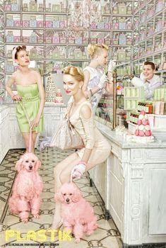 The Spring Ladies Club | Tom & Lorenzo -- this editorial is amazing. Old school ladylike styling, pink poodles, and LaDuree!