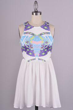 $56.00 Firebird Southwest Print Dress - White