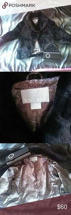 Nine west faux black fur jacket Beautiful immaculate black faux fur crop jacket. Like BRAND new. Non smoking home NWOT Nine West Jackets & Coats