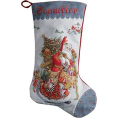 "COUNTED CROSS STITCH Christmas Stocking KIT Old World Santa 18"""