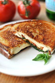 Grilled mozzarella, basil & tomato sandwich