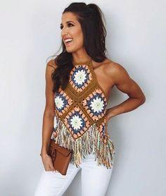 Free People - Summer Of Love Halter , Crochet Halter Tops, Crochet Shirt, Crochet Crop Top, Crochet Bikini, Crochet Woman, Love Crochet, Diy Crochet, Crochet Ideas, Crochet Fringe