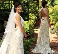Lace Bohemian Wedding Dresses Plunging Neckline Sheath Bodice Sexy Backless Beach Rustic Country Western Bride Dresses with Detachable Belt Berta Bridal 2015 Vintage Lace Wedding Gown Short Sleeve Bridal Gowns Online with 176.0/Piece on Magicdress2011's Store | DHgate.com