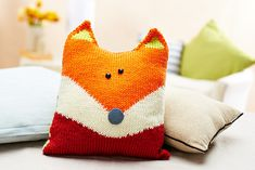 """Crochet this one OR sew it in fabric! Knitting pattern designed by Amanda Berry for """"Let's Get Crafting Knitting and Crochet"""" magazine, issue 52 Knitting For Kids, Knitting Projects, Crochet Projects, Sewing Projects, Fox Pillow, Knit Pillow, Knitted Pillows, Throw Pillow, Knitting Patterns Free"""