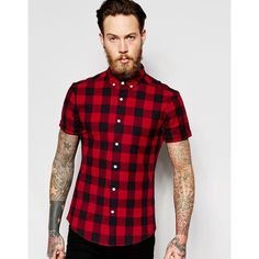 ASOS Skinny Shirt With Buffalo Plaid In Red With Short Sleeves ($33) ❤ liked on Polyvore featuring men's fashion, men's clothing, men's shirts, men's casual shirts, red, mens short sleeve shirts, mens short sleeve woven shirts, mens red checked shirt, mens red checkered shirt and asos mens shirts