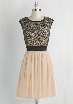 Starlet's Web Dress in Peach. After slipping into this black and peach dress, you feel like spinning with excitement over tonight's film premiere. #pink #prom #wedding #bridesmaid #modcloth
