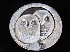 Mats Jonasson Two Owls   Crystal Glass Paperweight