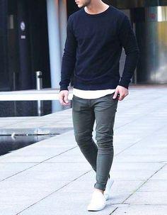 Roupa confortável masculina | comfort look boys | inspiração para roupa masculina (moletom azul + calça jeans cinza + tênis slip-on branco)