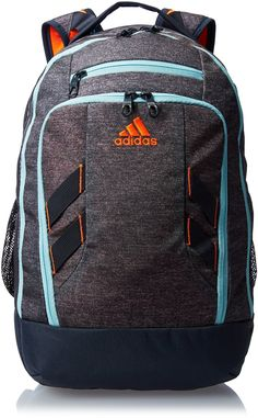 Amazon.com: adidas Rush Backpack, Heather Grey/Frozen Blue/Deepest Space/Solar Orange, One Size: Sports & Outdoors