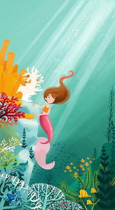 The Little Mermaid - Illustrated Fairytales on Behance Mermaid Illustration, Love Illustration, Character Illustration, Mermaid Pictures, Mermaid Fairy, Mermaid Drawings, Fantasy Mermaids, Cartoon Background, Design Poster
