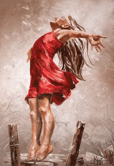 Girl praising the Lord on her tippy toes! M16078 Courageous. Prophetic art.