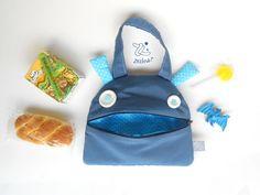 Sac de snack monstre bleu | Sac à main Zé Snack-glouton : main drôle | fourre-tout pour tout-petits | Fourre-tout de déjeuner | Sac à fermeture éclair pour tout-petits | étoiles bleues et blanches électriques