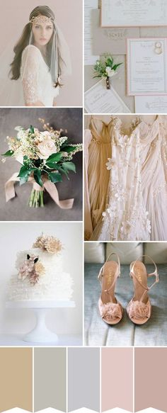 The ultimate in romance, this morning's wedding colour palette combining nude and soft blush, is soft and dreamy without being too girly. Perfect for weddings from Spring to Autumn, this soft blush and nude wedding palette is about love and light. We envisage this pretty pairing of colours mixed with lots of texture - raw edged silks, frothy tulle and extravagant embellishment.
