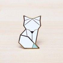 Broche origami Arctic fox