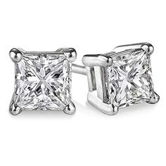Princess cut Diamond Promo Quality (JK, Stud each (total Hand-set in New York City with White Gold 4 Prong setting. Beautiful diamond stud (each stone & Princess Cut Diamond Earrings, Solitaire Earrings, Princess Cut Diamonds, Diamond Studs, Women's Earrings, Diamond Jewelry, Platinum Earrings, Gold Jewelry, Jewellery