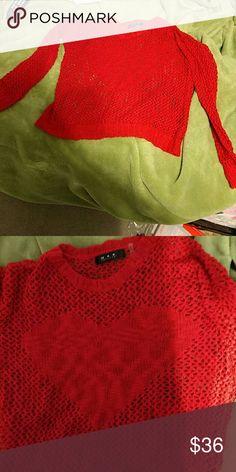 Red heart mesh like sweater New MAK Sweater Sweaters