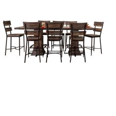 Jennings 9pc Rectangle Counter Height Dining Set - Distressed Walnut (Brown) - Hillsdale Furniture
