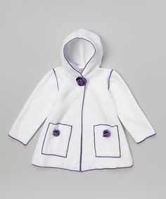 Another great find on #zulily! White & Purple Flower Coat - Infant, Toddler & Girls by Bella's Boutique #zulilyfinds