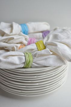 Ribbon scraps turn sliced cylinders into a lovely finishing touch for a backyard get-together.