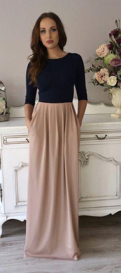 Marineblau-Cappuccino Maxi Damen Kleid 3/4 Ärmel von DesirVale