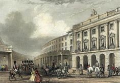 Early 1800s. Regent Street, London, UK. Where ladies paraded and shopped and where gentlemen strolled and greeted acquaintances.