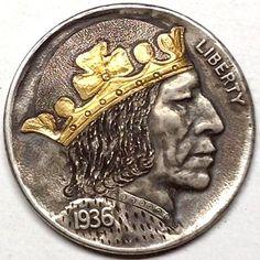 GEDIMINAS PALSIS HOBO NICKEL - HOBO KING WITH 24 KT GOLD INLAY - 1936 BUFFALO PROFILE Hobo Nickel, Coin Art, Grim Reaper, Art Forms, Sculpture Art, Metal Working, Skulls, Buffalo, Dragons