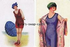 A9-LOVELY-LADIES-swap-playing-cards-MINT-CONDITION-Art-Deco-style-in-swimsuits