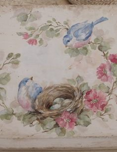 Shabby Vintage Bluebird Roses and Nest Bookstand SOLD - Debi Coules Romantic Art