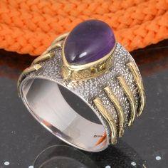 AMETHYST CAB 925 SOLID STERLING SILVER DESIGNER RING 5.52g DJR6083 #Handmade #Ring