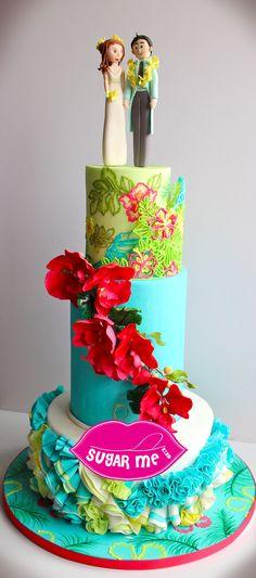 Tropical Theme Weddings Cake VISIONARY PATISSERIE BY SUGAR ME KISSERY info@sugarmehk.com #weddinghk #結婚蛋糕