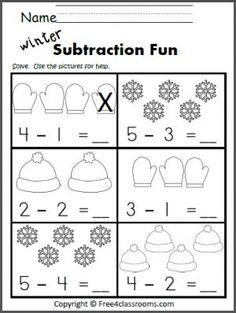best subtraction kindergarten images  teaching math  free subtraction worksheet great winter math activity practice subtraction  to  preschool worksheets