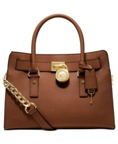 MICHAEL Michael Kors Hamilton Saffiano Leather East West Satchel $298.00 Soft leather and luxe hardware grace this gorgeous design from MICHAEL Michael Kors. Bold chain detailing and a prominent signature lock charm at front perfectly accent this femme satchel silhouette.