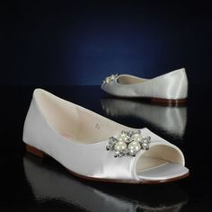 PINK FLOWER WHITE, IVORY Wedding and Bridesmaids Shoes WHITE, IVORY Bridal Shoes