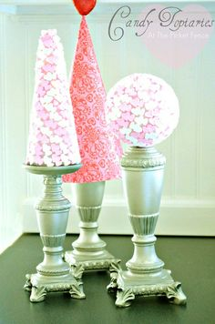 Valentine's Day Candy Topiary tutorial from At The Picket Fence