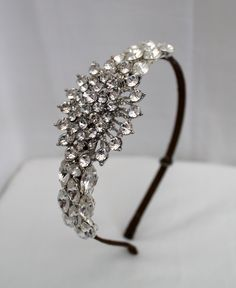 Handmade diamante tiara bridal headdress wedding tiara crystal wedding headpiece vintage style side tiara. £79.00, via Etsy.