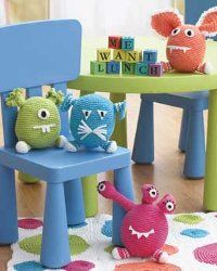 Make some adorable Hungry Monsters for your kids to play with. This is an easy crochet pattern you can work up quickly. Directions are given for each monster so you can pick and choose which one you want, or you can make them all!