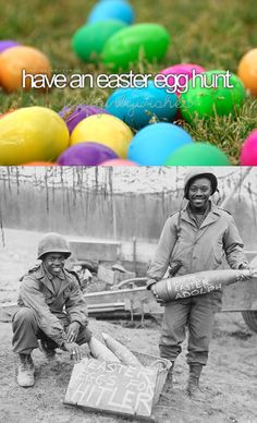 The two men in this photograph are Technical Sergeant William E. Thomas and Private First Class Joseph Jackson of the Field Artillery Battalion, but at the time of the photograph were part of the Artillery Battalion. Scrawling such. Military Memes, Military Life, Army Humor, Happy Easter Everyone, History Memes, Red Army, Proud Mom, Troops, Soldiers