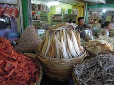 Mounds of assorted dried seafood being sold at Taboan Market in Cebu.